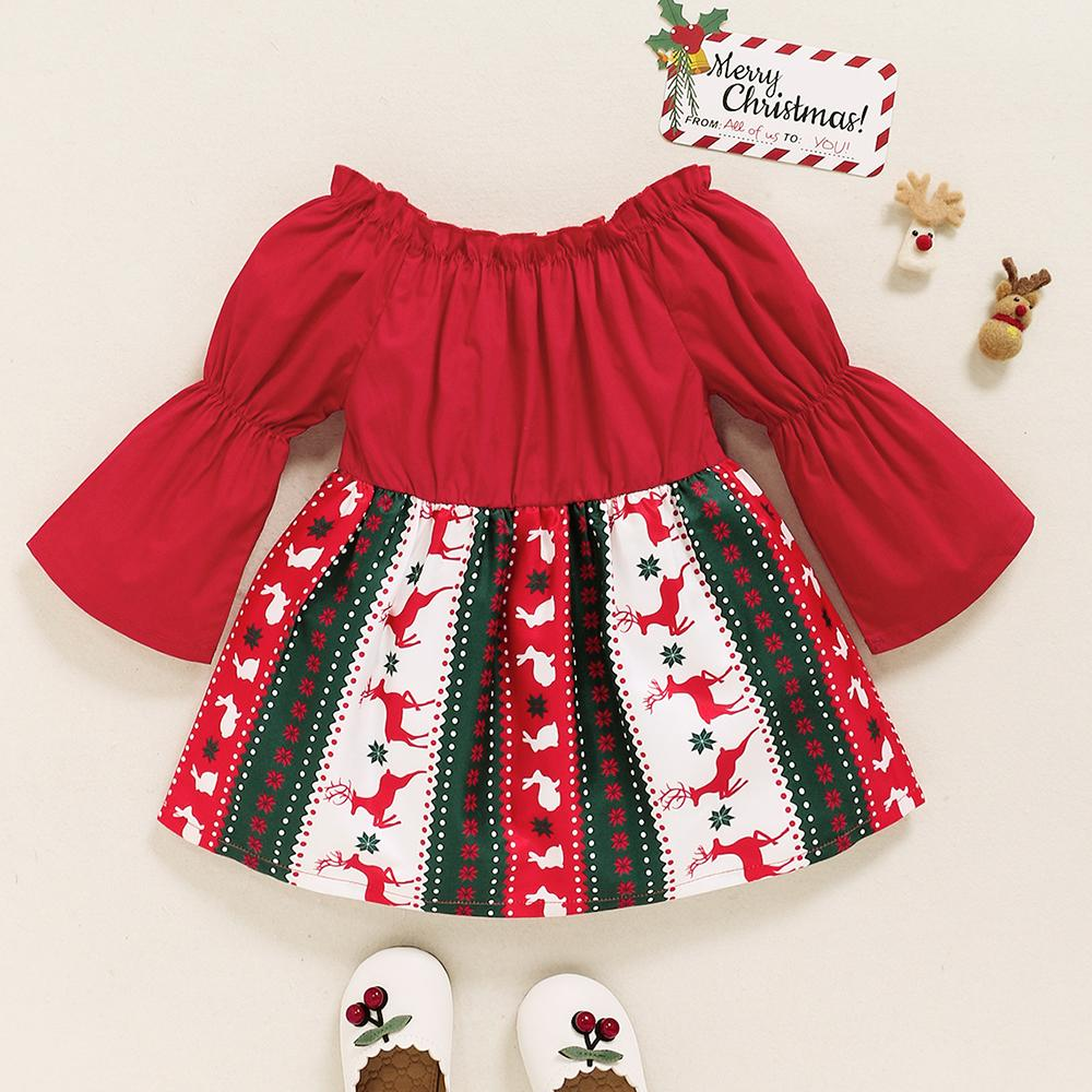 Baby Girl Red Christmas Long Flared Sleeve Off-Shoulder Dress